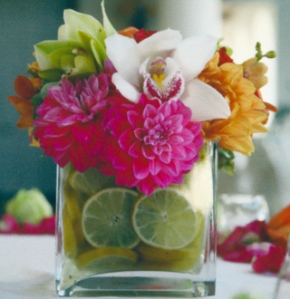 A unique arrangement utilizing fresh sliced lemons and limes offers a distinctive, affordable touch.