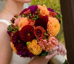 A striking bridal bouquet from Delford West Flowers